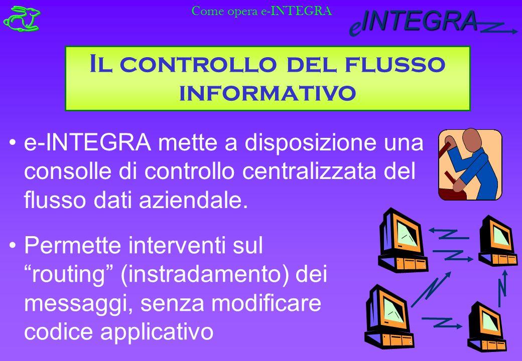 INTEGRA e Il controllo del flusso informativo e-INTEGRA mette a disposizione una consolle di controllo centralizzata del flusso dati aziendale.
