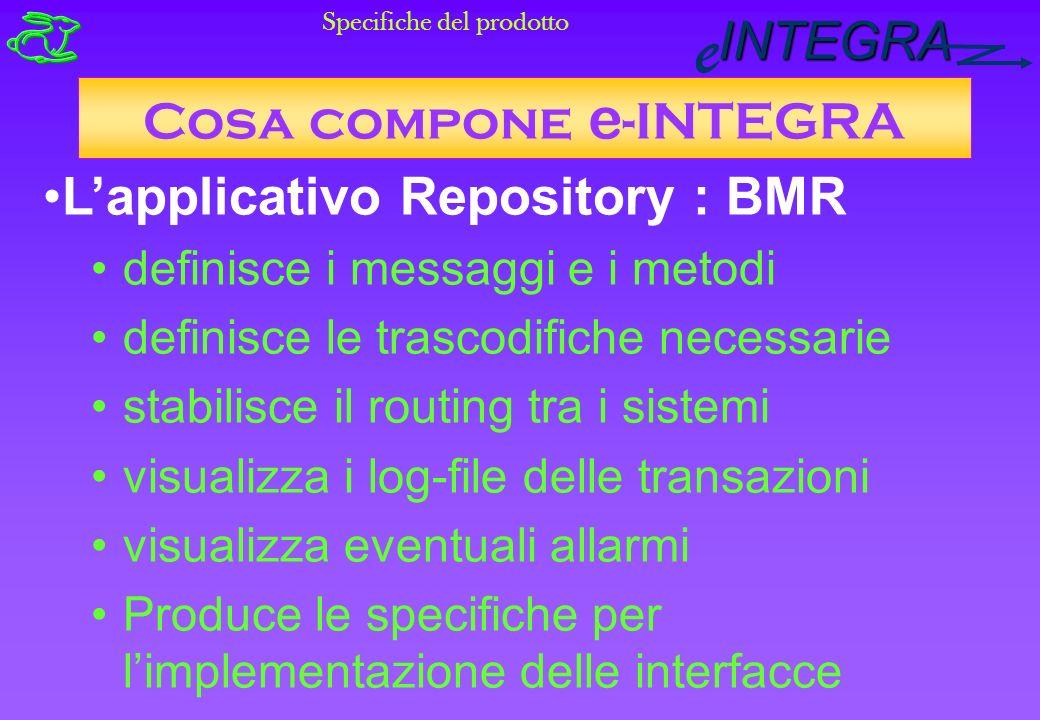 INTEGRA e Cosa compone e -INTEGRA Specifiche del prodotto Lapplicativo Repository : BMR definisce i messaggi e i metodi definisce le trascodifiche necessarie stabilisce il routing tra i sistemi visualizza i log-file delle transazioni visualizza eventuali allarmi Produce le specifiche per limplementazione delle interfacce