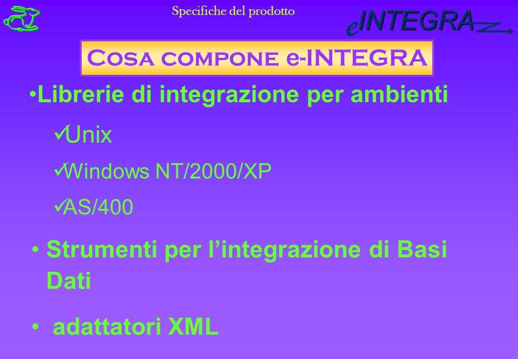 INTEGRA e Strumenti per lintegrazione di Basi Dati adattatori XML Cosa compone e -INTEGRA Librerie di integrazione per ambienti Unix Windows NT/2000/XP AS/400 Specifiche del prodotto