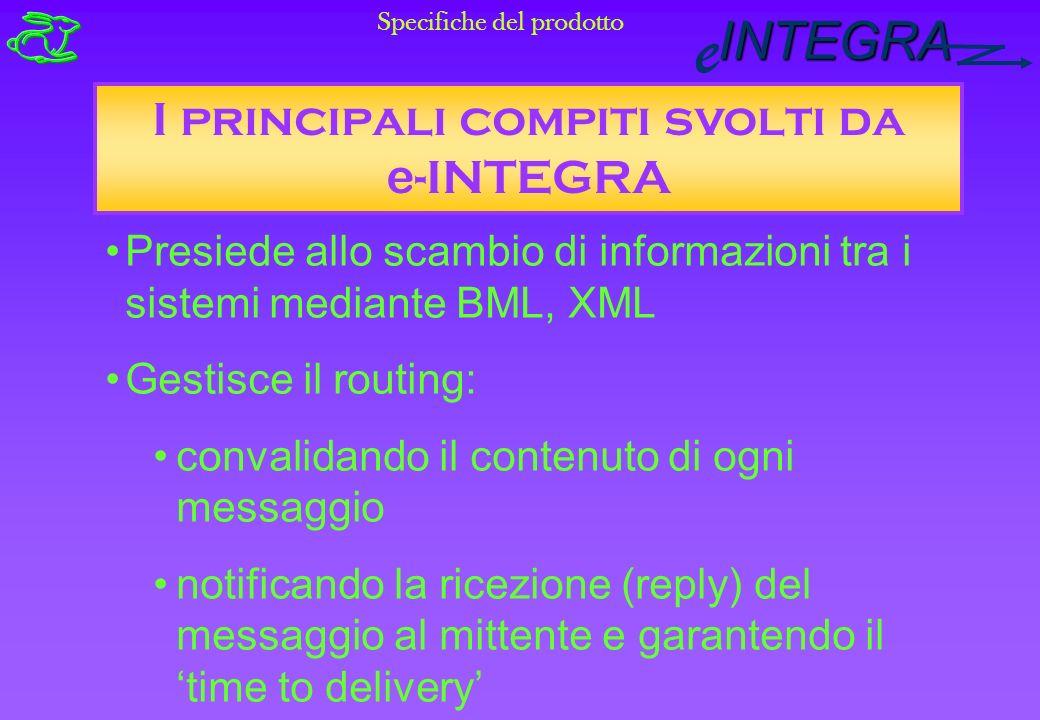INTEGRA e I principali compiti svolti da e -INTEGRA Presiede allo scambio di informazioni tra i sistemi mediante BML, XML Gestisce il routing: convalidando il contenuto di ogni messaggio notificando la ricezione (reply) del messaggio al mittente e garantendo il time to delivery Specifiche del prodotto
