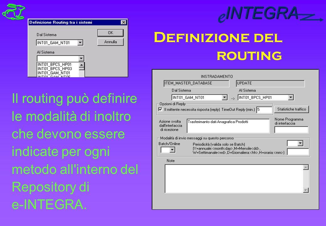 INTEGRA e Definizione del routing Il routing può definire le modalità di inoltro che devono essere indicate per ogni metodo all interno del Repository di e-INTEGRA.