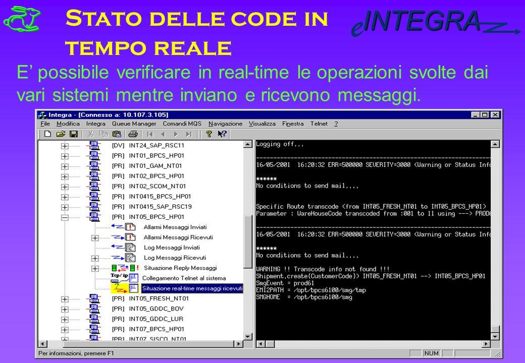 INTEGRA e Stato delle code in tempo reale E possibile verificare in real-time le operazioni svolte dai vari sistemi mentre inviano e ricevono messaggi.