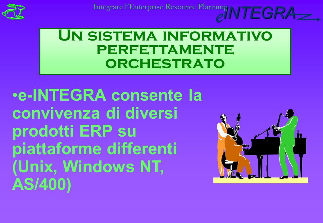 INTEGRA e Un sistema informativo perfettamente orchestrato e-INTEGRA consente la convivenza di diversi prodotti ERP su piattaforme differenti (Unix, Windows NT, AS/400) Integrare lEnterprise Resource Planning