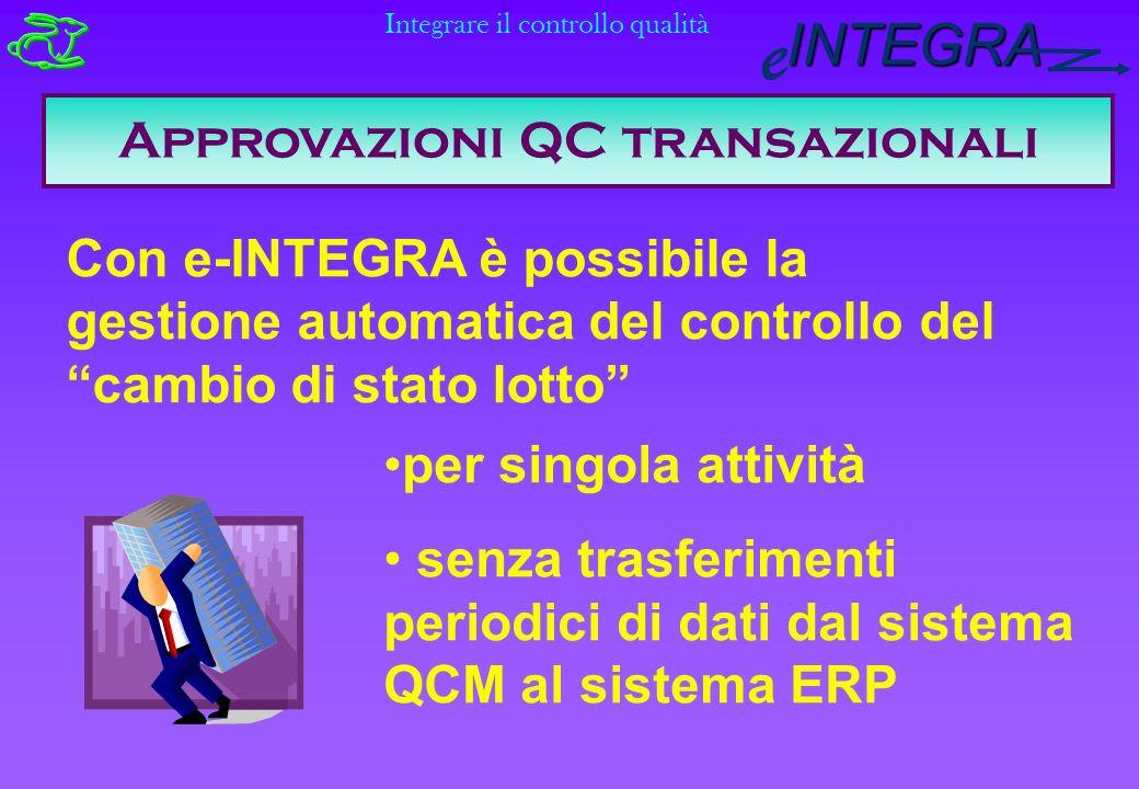INTEGRA e Approvazioni QC transazionali Con e-INTEGRA è possibile la gestione automatica del controllo del cambio di stato lotto per singola attività senza trasferimenti periodici di dati dal sistema QCM al sistema ERP Integrare il controllo qualità