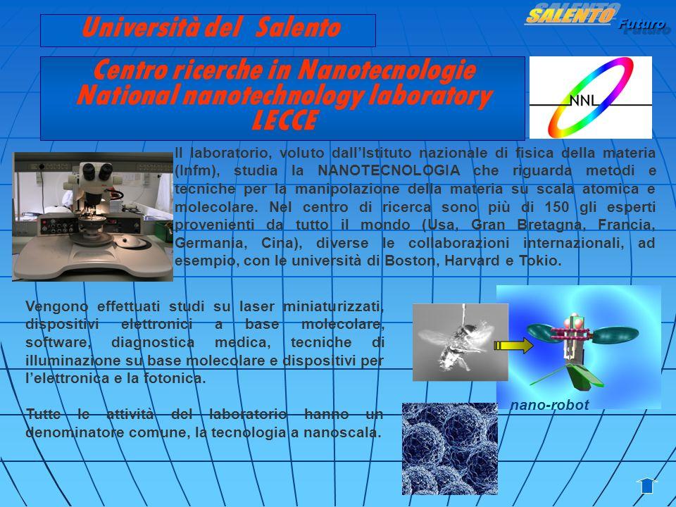 Futuro Centro ricerche in Nanotecnologie National nanotechnology laboratory LECCE Il laboratorio, voluto dallIstituto nazionale di fisica della materi