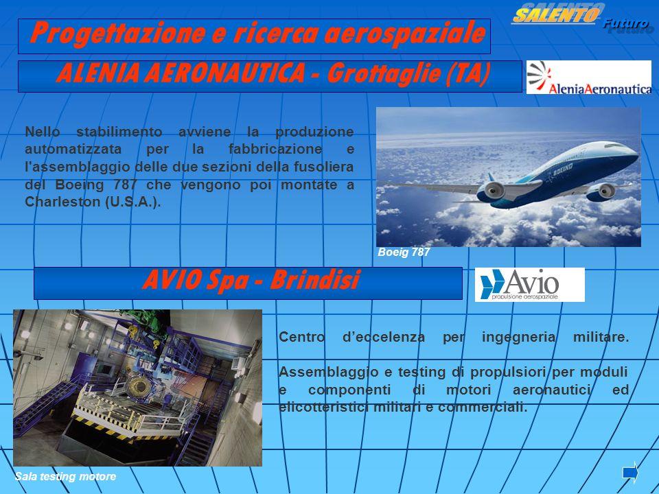 Futuro ALENIA AERONAUTICA - Grottaglie (TA) AVIO Spa - Brindisi Centro deccelenza per ingegneria militare. Assemblaggio e testing di propulsiori per m
