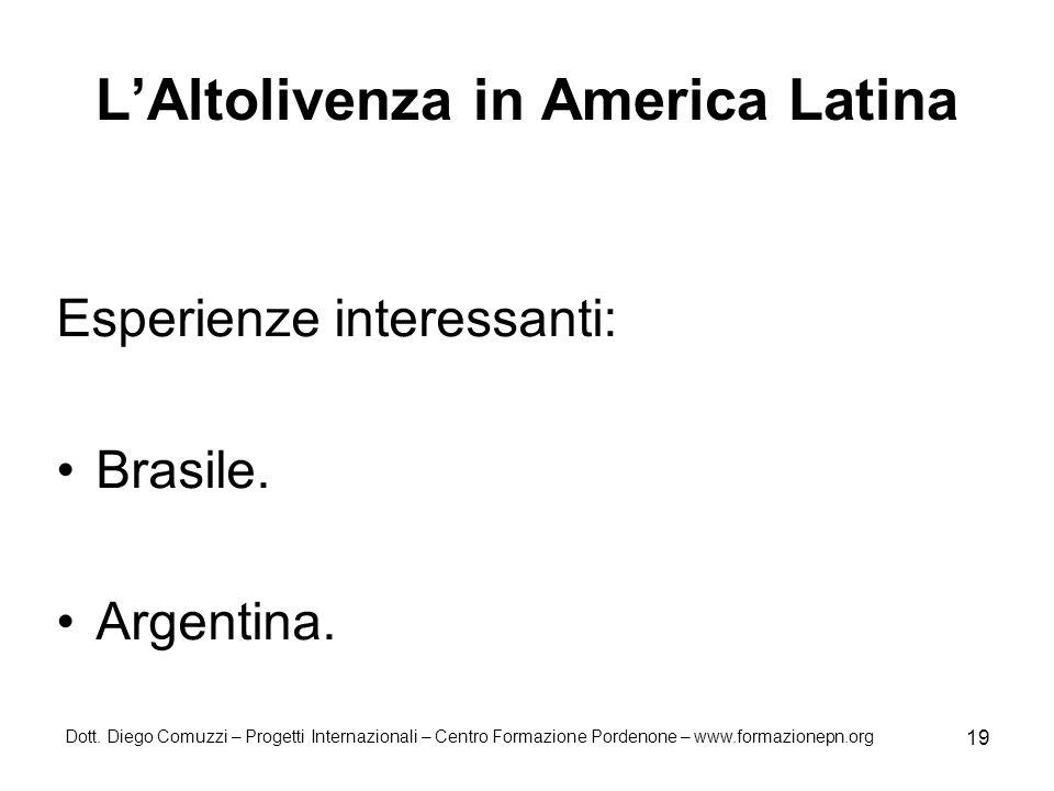 Dott. Diego Comuzzi – Progetti Internazionali – Centro Formazione Pordenone – www.formazionepn.org 19 LAltolivenza in America Latina Esperienze intere