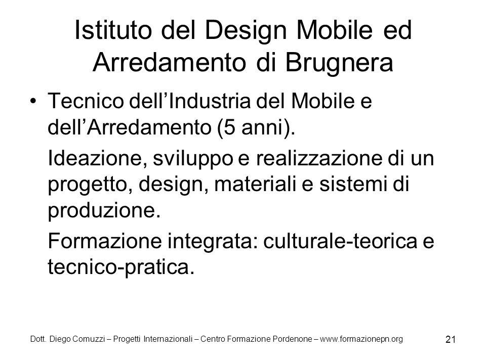 Dott. Diego Comuzzi – Progetti Internazionali – Centro Formazione Pordenone – www.formazionepn.org 21 Istituto del Design Mobile ed Arredamento di Bru