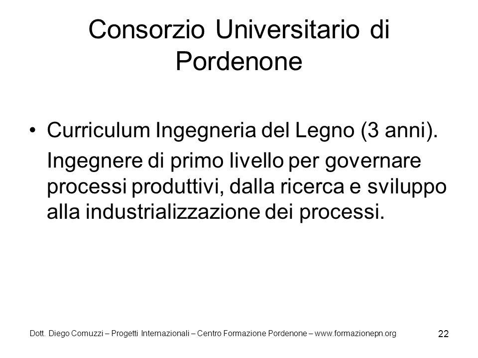 Dott. Diego Comuzzi – Progetti Internazionali – Centro Formazione Pordenone – www.formazionepn.org 22 Consorzio Universitario di Pordenone Curriculum
