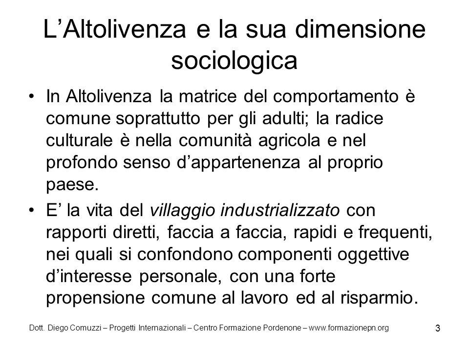 Dott. Diego Comuzzi – Progetti Internazionali – Centro Formazione Pordenone – www.formazionepn.org 3 LAltolivenza e la sua dimensione sociologica In A