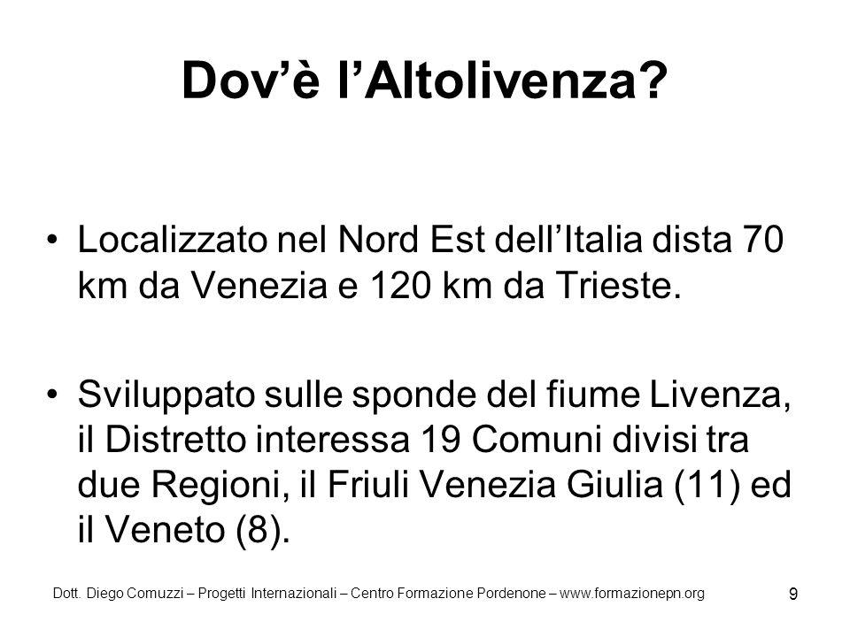 Dott. Diego Comuzzi – Progetti Internazionali – Centro Formazione Pordenone – www.formazionepn.org 9 Dovè lAltolivenza? Localizzato nel Nord Est dellI