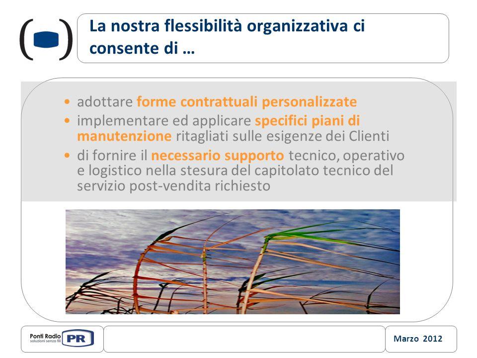 Marzo 2012 La nostra flessibilità organizzativa ci consente di … adottare forme contrattuali personalizzate implementare ed applicare specifici piani