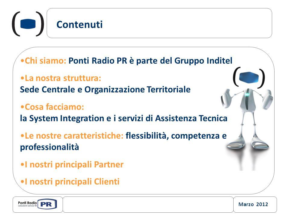 Marzo 2012 Contenuti Chi siamo: Ponti Radio PR è parte del Gruppo Inditel La nostra struttura: Sede Centrale e Organizzazione Territoriale Cosa faccia