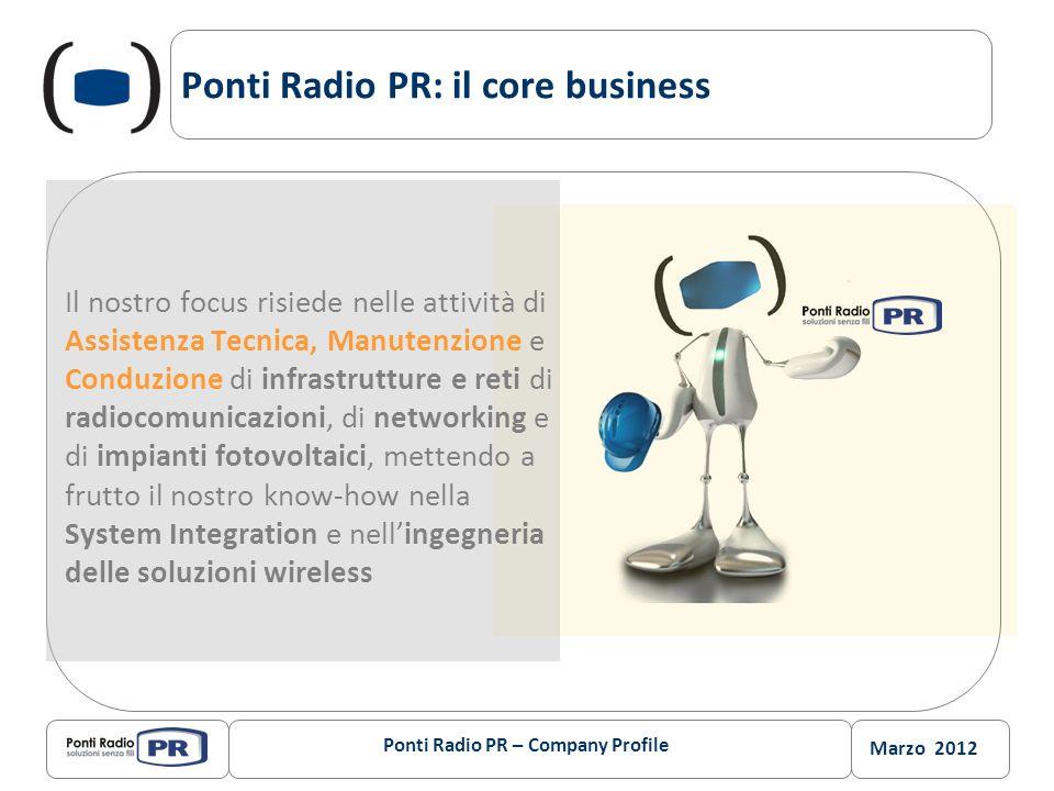 Marzo 2012 Ponti Radio PR: il core business Il nostro focus risiede nelle attività di Assistenza Tecnica, Manutenzione e Conduzione di infrastrutture