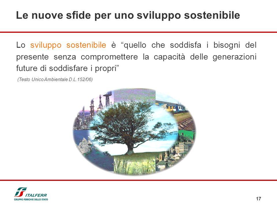 17 Lo sviluppo sostenibile è quello che soddisfa i bisogni del presente senza compromettere la capacità delle generazioni future di soddisfare i propr