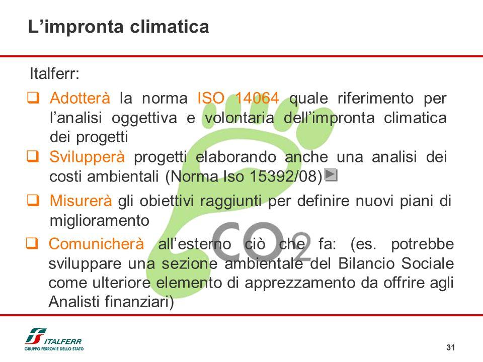 31 Adotterà la norma ISO 14064 quale riferimento per lanalisi oggettiva e volontaria dellimpronta climatica dei progetti Svilupperà progetti elaborand