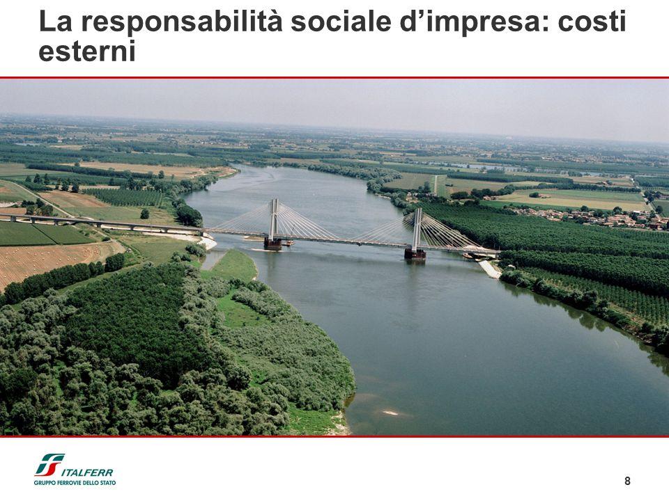 8 Strada Aereo Treno in Europa (g/p*km)118 140 44 Consumo specifico di energia (gep/UT) 35 122 11 La responsabilità sociale dimpresa: costi esterni Em