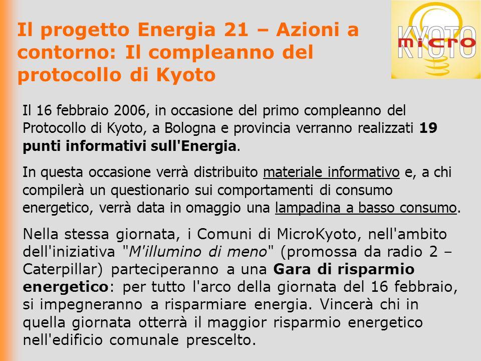 Il progetto Energia 21 – Azioni a contorno: Il compleanno del protocollo di Kyoto Il 16 febbraio 2006, in occasione del primo compleanno del Protocollo di Kyoto, a Bologna e provincia verranno realizzati 19 punti informativi sull Energia.