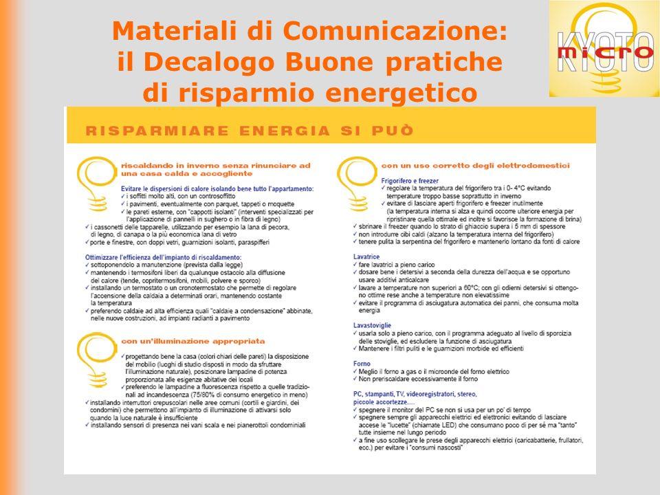 Materiali di Comunicazione: il Decalogo Buone pratiche di risparmio energetico