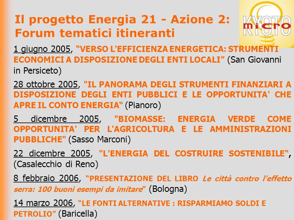 Il progetto Energia 21 - Azione 2: Forum tematici itineranti 1 giugno 2005, VERSO L EFFICIENZA ENERGETICA: STRUMENTI ECONOMICI A DISPOSIZIONE DEGLI ENTI LOCALI (San Giovanni in Persiceto) 28 ottobre 2005, IL PANORAMA DEGLI STRUMENTI FINANZIARI A DISPOSIZIONE DEGLI ENTI PUBBLICI E LE OPPORTUNITA CHE APRE IL CONTO ENERGIA (Pianoro) 5 dicembre 2005, BIOMASSE: ENERGIA VERDE COME OPPORTUNITA PER L AGRICOLTURA E LE AMMINISTRAZIONI PUBBLICHE (Sasso Marconi) 22 dicembre 2005, L ENERGIA DEL COSTRUIRE SOSTENIBILE, (Casalecchio di Reno) 8 febbraio 2006, PRESENTAZIONE DEL LIBRO Le città contro leffetto serra: 100 buoni esempi da imitare (Bologna) 14 marzo 2006, LE FONTI ALTERNATIVE : RISPARMIAMO SOLDI E PETROLIO (Baricella)