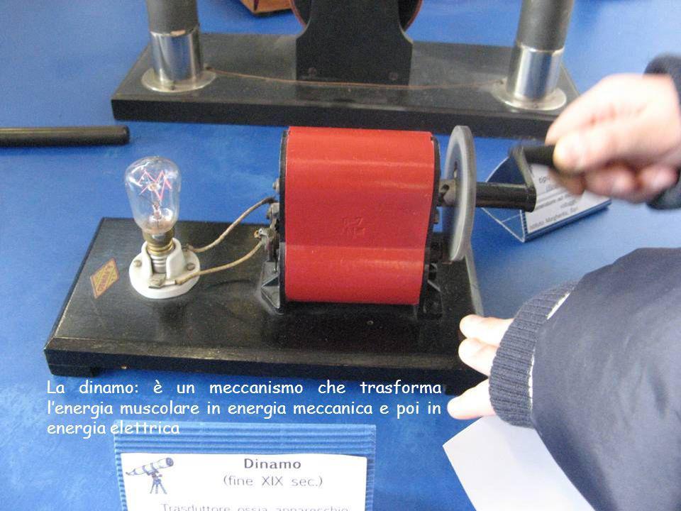 La dinamo: è un meccanismo che trasforma lenergia muscolare in energia meccanica e poi in energia elettrica