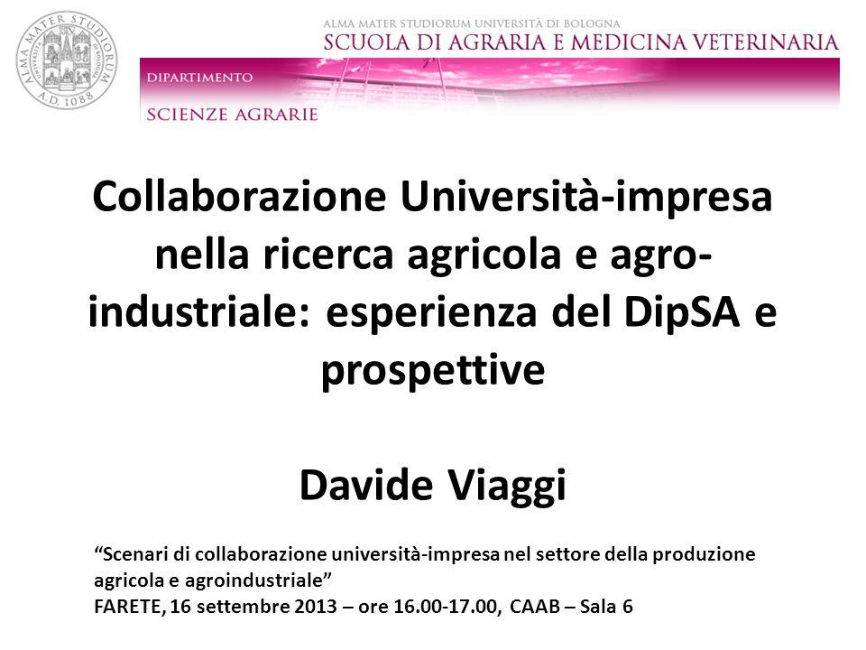 Collaborazione Università-impresa nella ricerca agricola e agro- industriale: esperienza del DipSA e prospettive Davide Viaggi Scenari di collaborazio