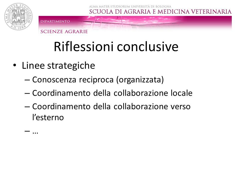 Riflessioni conclusive Linee strategiche – Conoscenza reciproca (organizzata) – Coordinamento della collaborazione locale – Coordinamento della collab