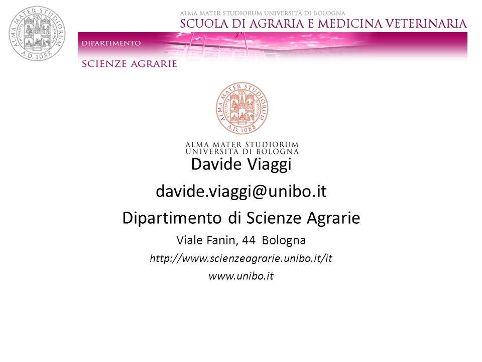 Davide Viaggi davide.viaggi@unibo.it Dipartimento di Scienze Agrarie Viale Fanin, 44 Bologna http://www.scienzeagrarie.unibo.it/it www.unibo.it