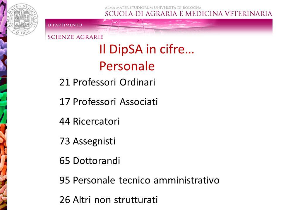 Il DipSA in cifre… Personale LAB 7 vs F. culmorum LAB 8 vs F. oxysporum NA 99 vs Sclerotinia spp. 21 Professori Ordinari 17 Professori Associati 44 Ri