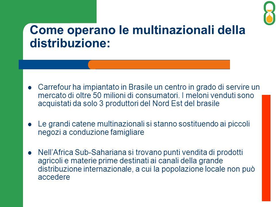 Come operano le multinazionali della distribuzione: Carrefour ha impiantato in Brasile un centro in grado di servire un mercato di oltre 50 milioni di consumatori.