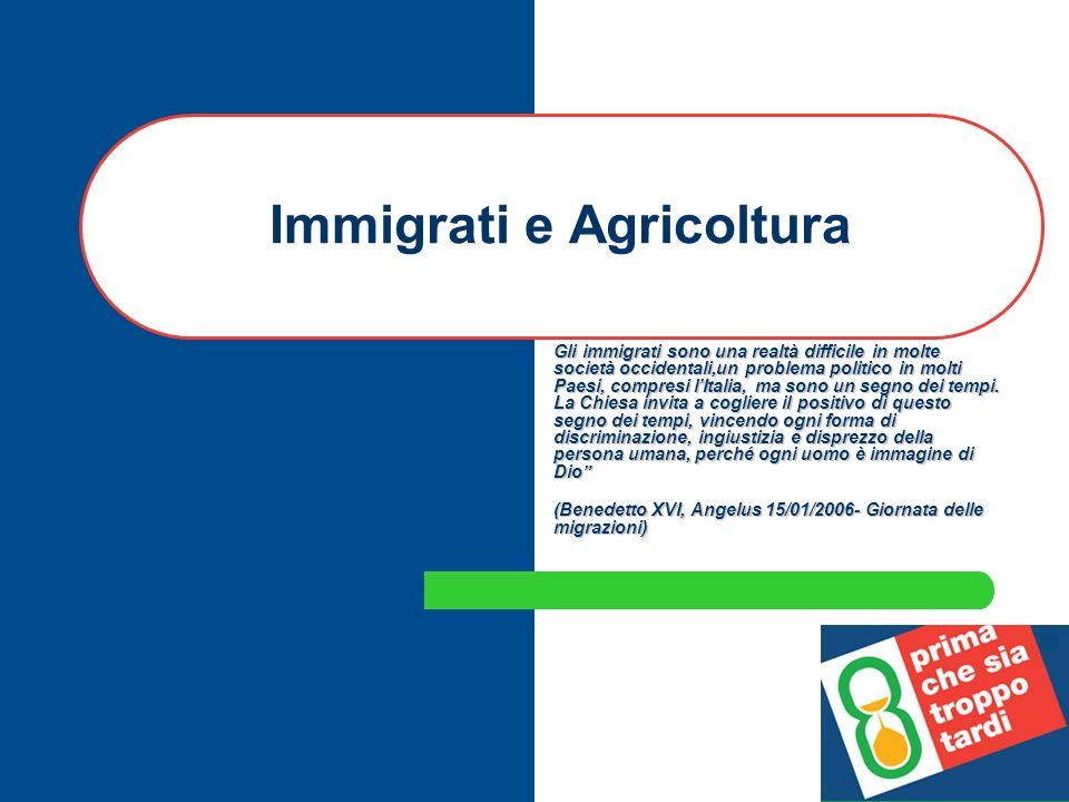 Immigrati e Agricoltura Gli immigrati sono una realtà difficile in molte società occidentali,un problema politico in molti Paesi, compresi lItalia, ma sono un segno dei tempi.