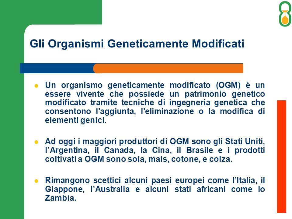Gli Organismi Geneticamente Modificati Un organismo geneticamente modificato (OGM) è un essere vivente che possiede un patrimonio genetico modificato tramite tecniche di ingegneria genetica che consentono l aggiunta, l eliminazione o la modifica di elementi genici.