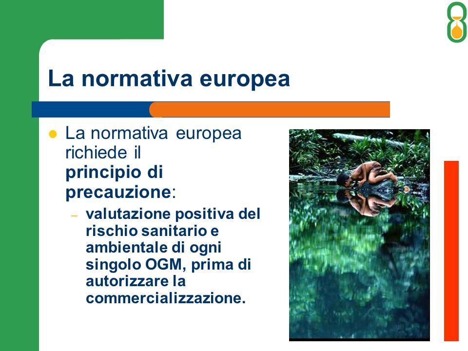 La normativa europea La normativa europea richiede il principio di precauzione: – valutazione positiva del rischio sanitario e ambientale di ogni singolo OGM, prima di autorizzare la commercializzazione.