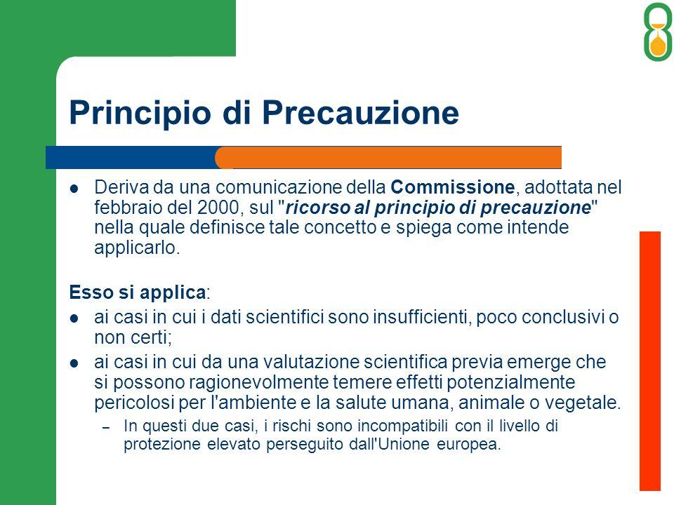 Principio di Precauzione Deriva da una comunicazione della Commissione, adottata nel febbraio del 2000, sul ricorso al principio di precauzione nella quale definisce tale concetto e spiega come intende applicarlo.