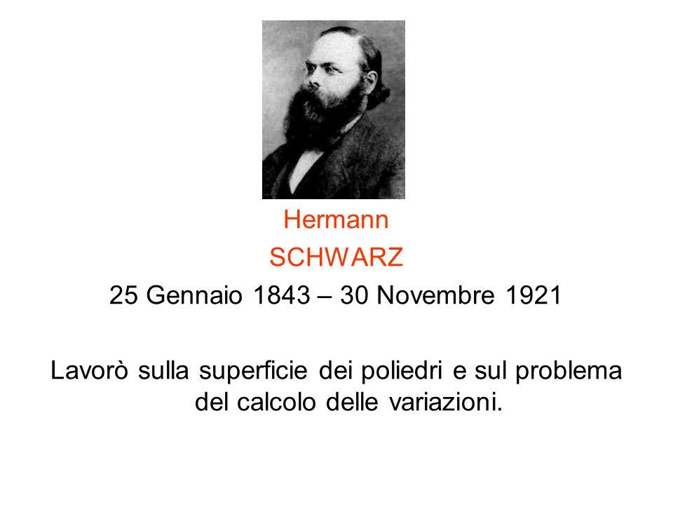 Hermann SCHWARZ 25 Gennaio 1843 – 30 Novembre 1921 Lavorò sulla superficie dei poliedri e sul problema del calcolo delle variazioni.