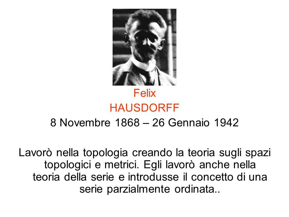 Felix HAUSDORFF 8 Novembre 1868 – 26 Gennaio 1942 Lavorò nella topologia creando la teoria sugli spazi topologici e metrici. Egli lavorò anche nella t