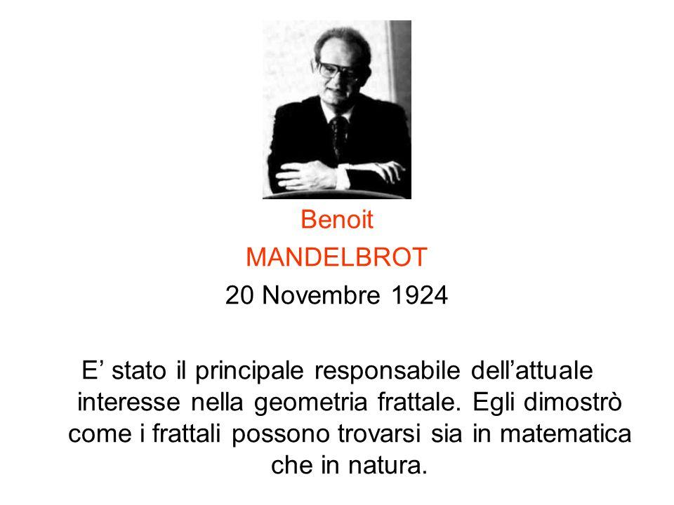 Benoit MANDELBROT 20 Novembre 1924 E stato il principale responsabile dellattuale interesse nella geometria frattale. Egli dimostrò come i frattali po