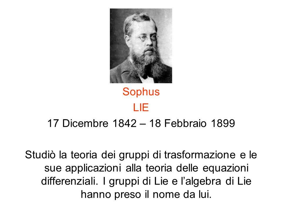 Sophus LIE 17 Dicembre 1842 – 18 Febbraio 1899 Studiò la teoria dei gruppi di trasformazione e le sue applicazioni alla teoria delle equazioni differe