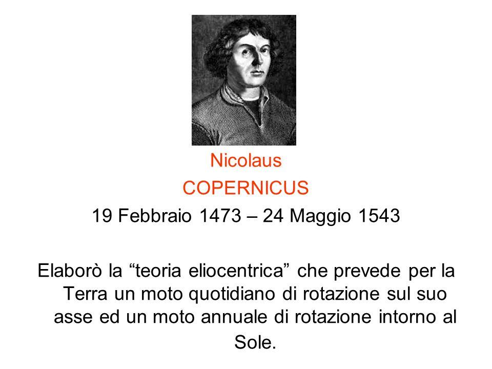 Nicolaus COPERNICUS 19 Febbraio 1473 – 24 Maggio 1543 Elaborò la teoria eliocentrica che prevede per la Terra un moto quotidiano di rotazione sul suo