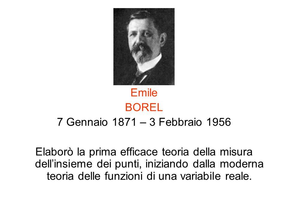 Emile BOREL 7 Gennaio 1871 – 3 Febbraio 1956 Elaborò la prima efficace teoria della misura dellinsieme dei punti, iniziando dalla moderna teoria delle