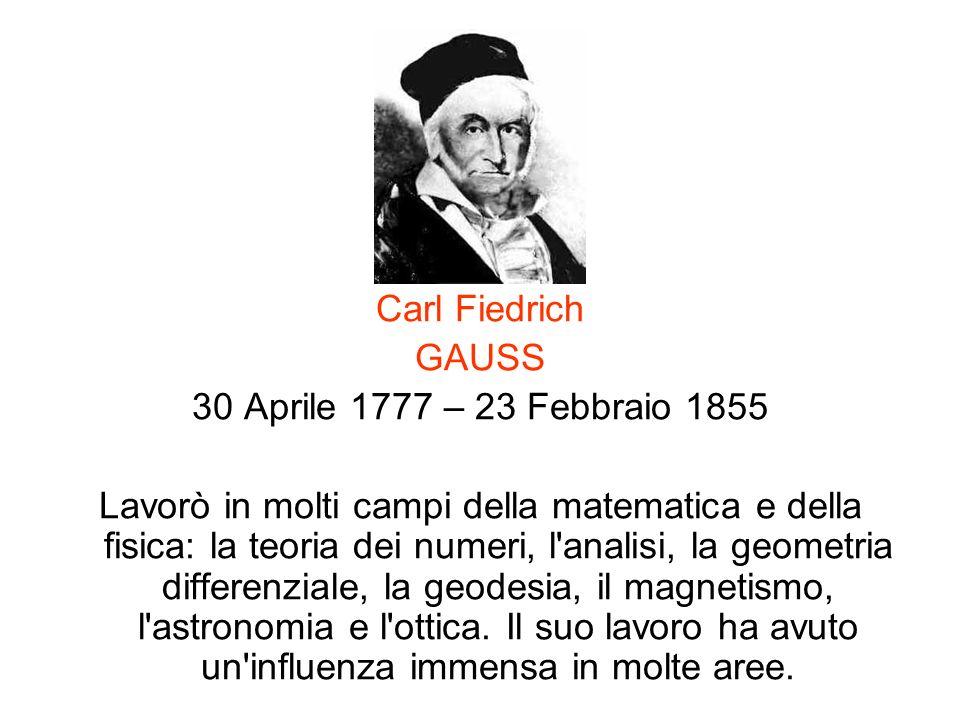 Carl Fiedrich GAUSS 30 Aprile 1777 – 23 Febbraio 1855 Lavorò in molti campi della matematica e della fisica: la teoria dei numeri, l'analisi, la geome