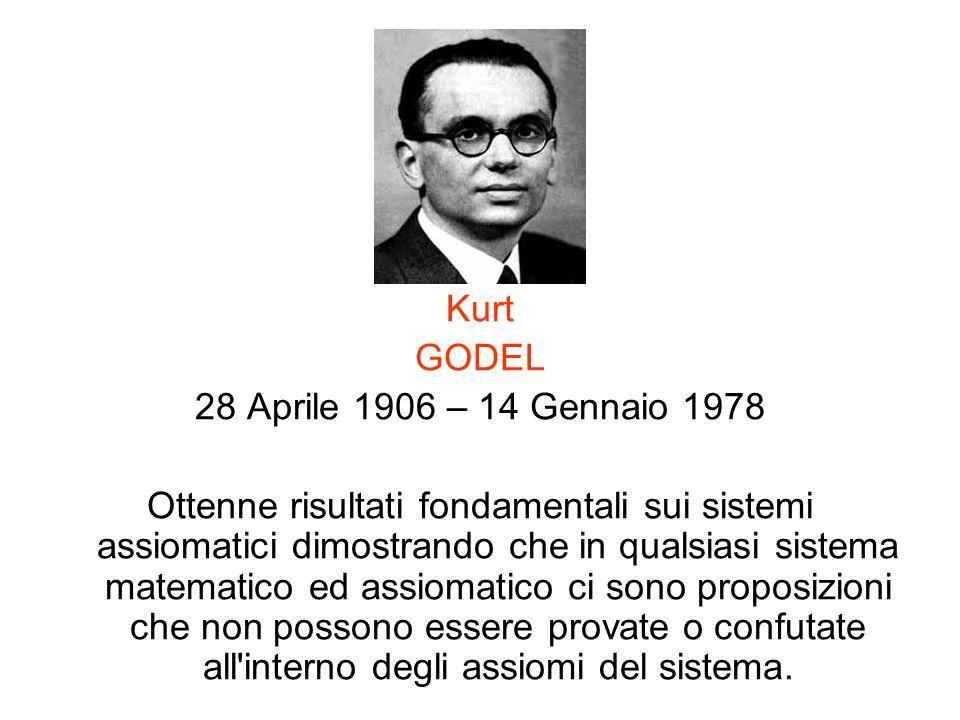 Kurt GODEL 28 Aprile 1906 – 14 Gennaio 1978 Ottenne risultati fondamentali sui sistemi assiomatici dimostrando che in qualsiasi sistema matematico ed