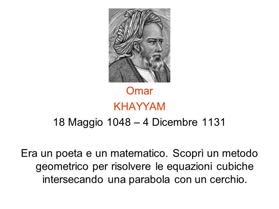 Omar KHAYYAM 18 Maggio 1048 – 4 Dicembre 1131 Era un poeta e un matematico. Scoprì un metodo geometrico per risolvere le equazioni cubiche intersecand