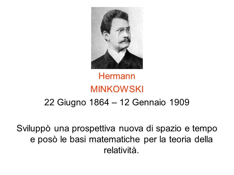 Hermann MINKOWSKI 22 Giugno 1864 – 12 Gennaio 1909 Sviluppò una prospettiva nuova di spazio e tempo e posò le basi matematiche per la teoria della rel