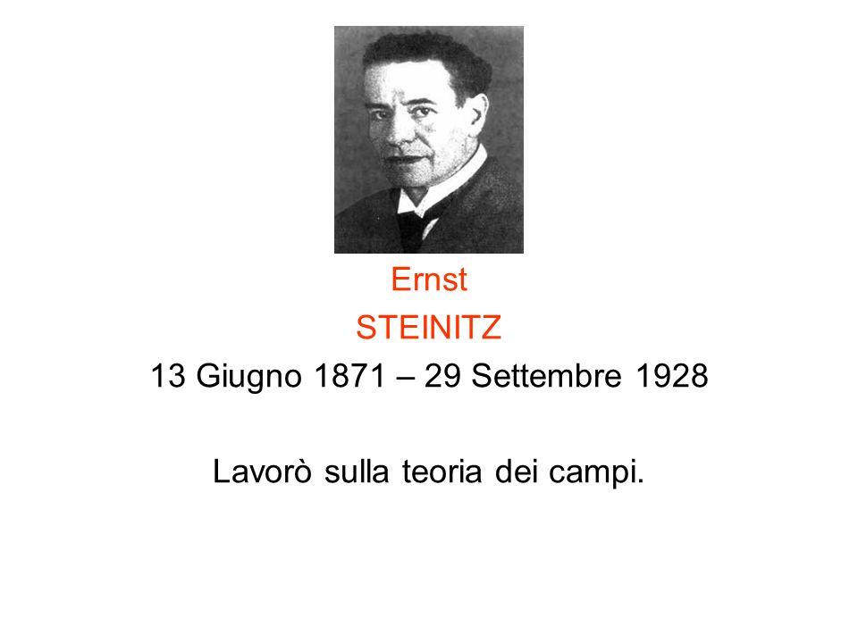Ernst STEINITZ 13 Giugno 1871 – 29 Settembre 1928 Lavorò sulla teoria dei campi.