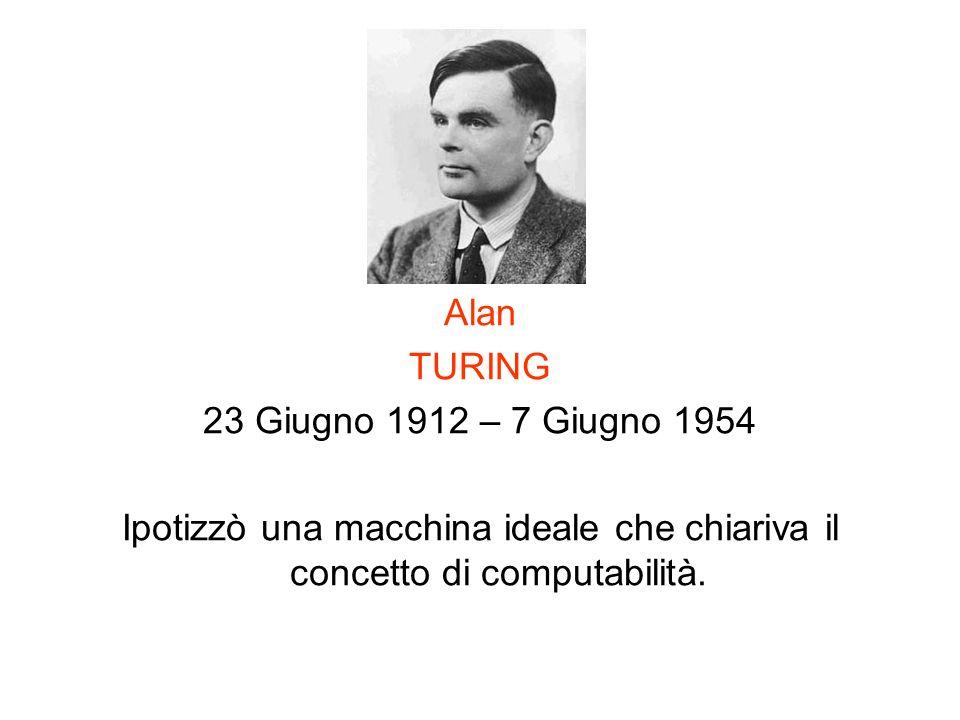 Alan TURING 23 Giugno 1912 – 7 Giugno 1954 Ipotizzò una macchina ideale che chiariva il concetto di computabilità.