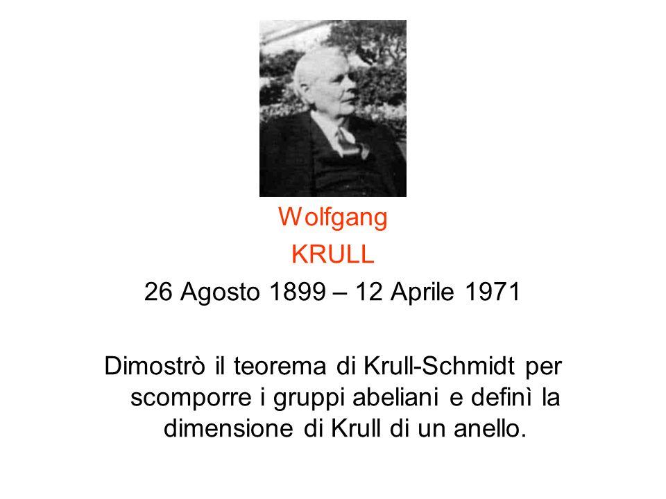 Wolfgang KRULL 26 Agosto 1899 – 12 Aprile 1971 Dimostrò il teorema di Krull-Schmidt per scomporre i gruppi abeliani e definì la dimensione di Krull di