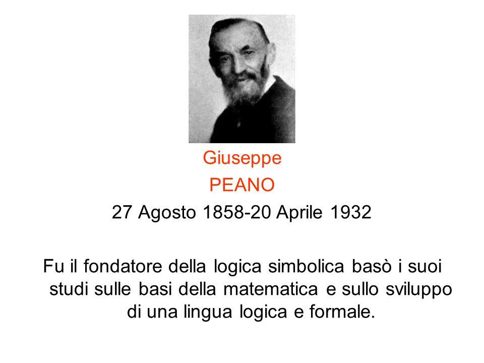 Giuseppe PEANO 27 Agosto 1858-20 Aprile 1932 Fu il fondatore della logica simbolica basò i suoi studi sulle basi della matematica e sullo sviluppo di