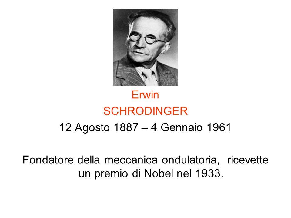 Erwin SCHRODINGER 12 Agosto 1887 – 4 Gennaio 1961 Fondatore della meccanica ondulatoria, ricevette un premio di Nobel nel 1933.