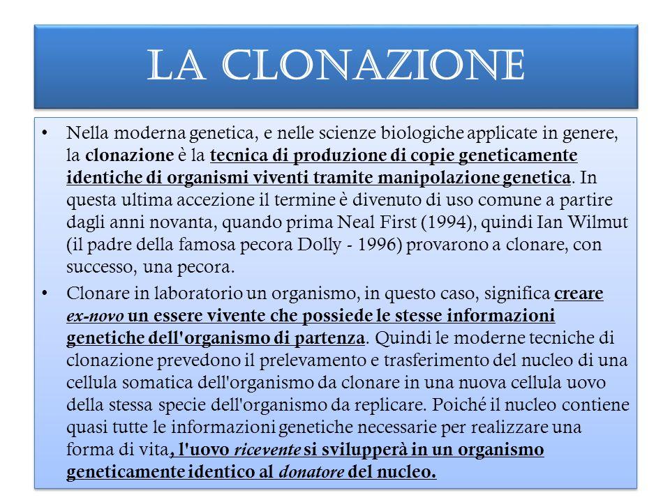 LA CLONAZIONE Nella moderna genetica, e nelle scienze biologiche applicate in genere, la clonazione è la tecnica di produzione di copie geneticamente identiche di organismi viventi tramite manipolazione genetica.